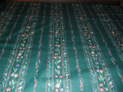 Polished Cotton Green Floral Stripe Pattern Drapery Fabric