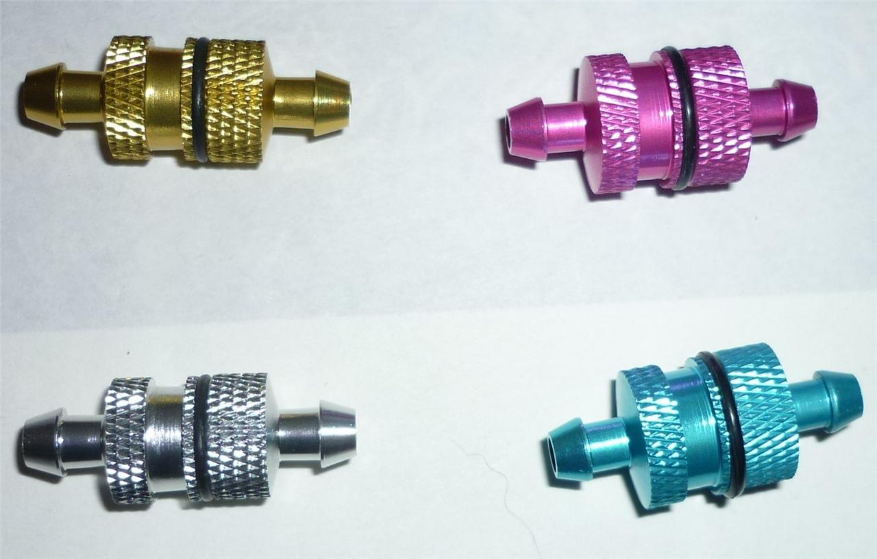 Alloy Inline Nitro Fuel or Oil Filter for 1/5th Scale - 4 Colours To Choose From