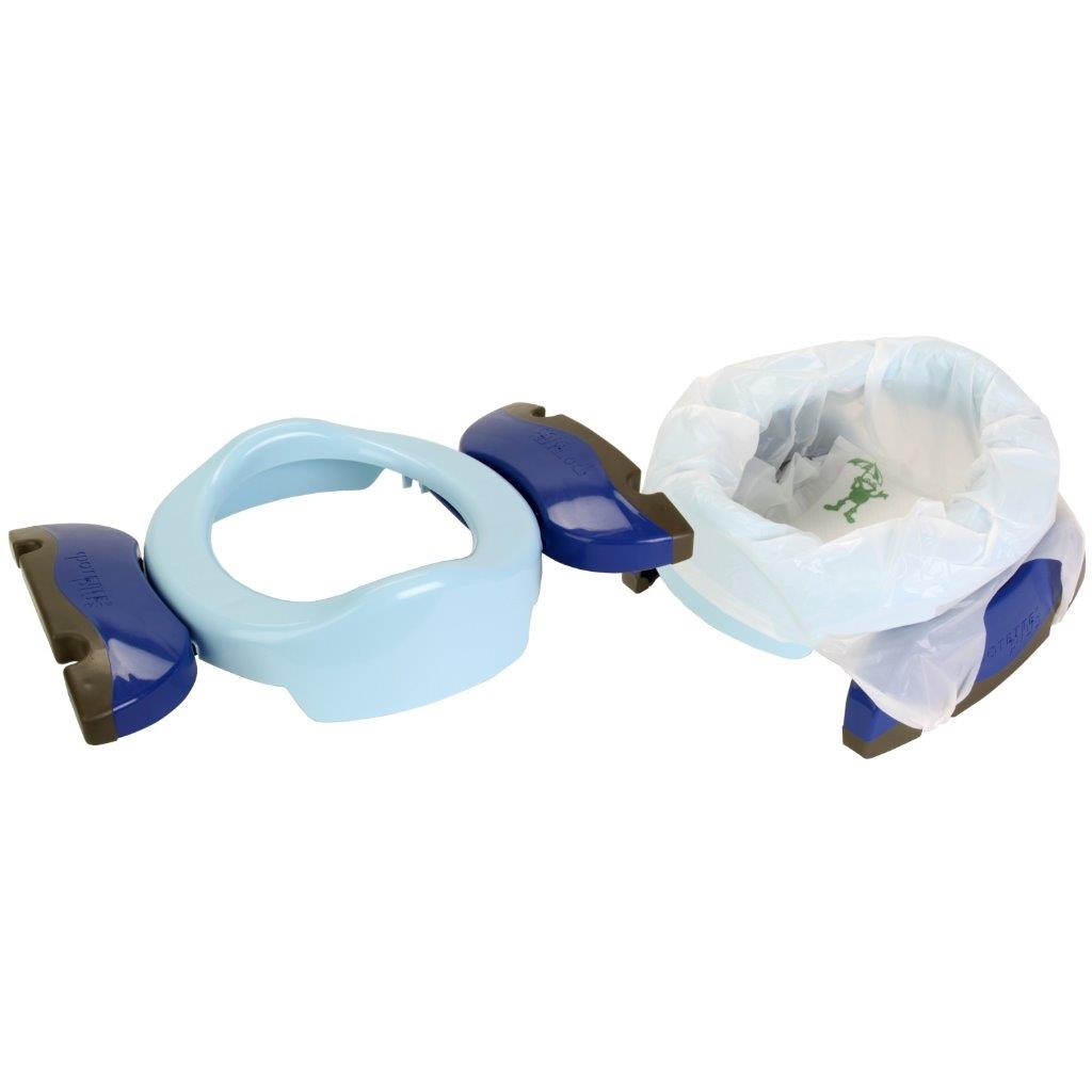 Potette Plus 2 In 1 Foldable Travel Potty Toilet Training Seat 3 Liners BLU