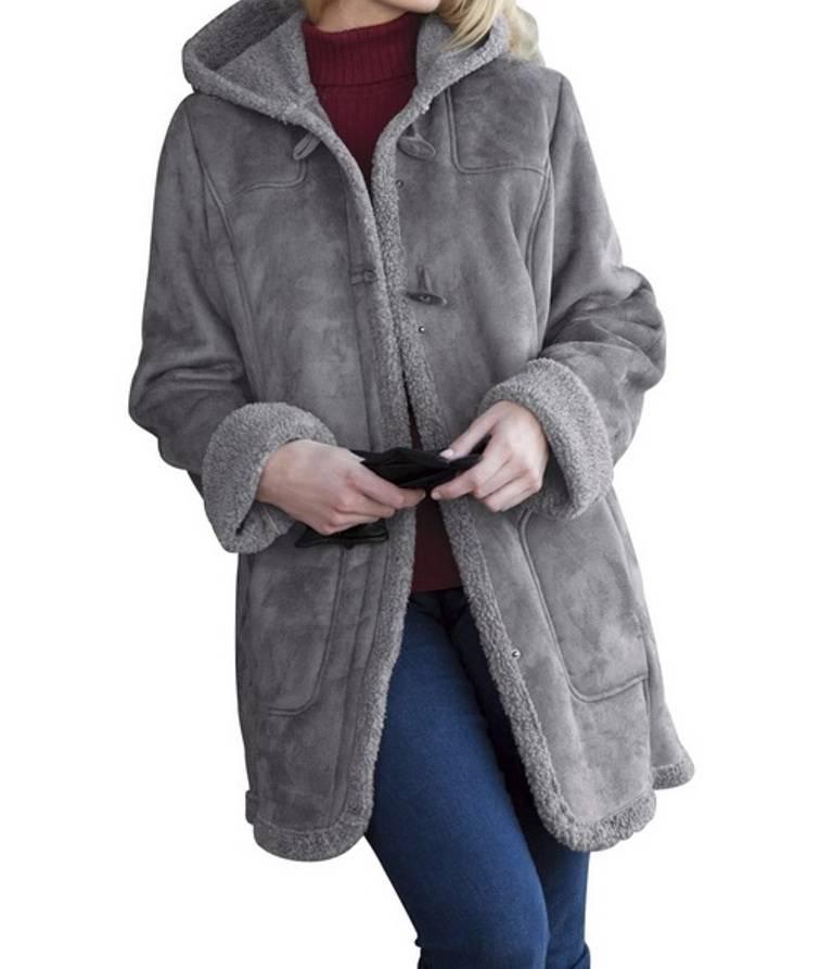 ladies women's winter Faux Shearling sherpa trimToggle Coat jacket
