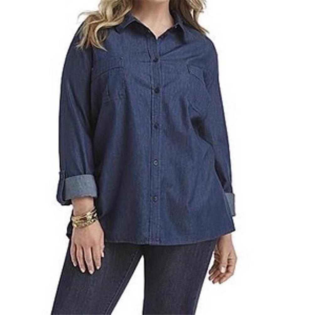 Women 39 s spring fall summer cotton denim blouse top shirt for Womens denim tunic shirt
