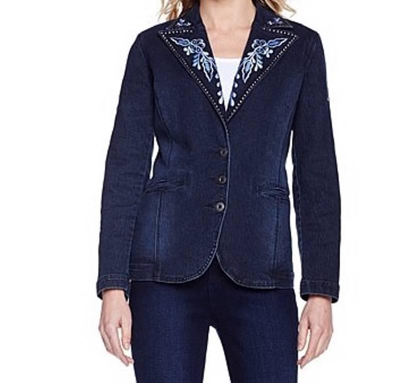Womenu0026#39;s Fall Spring Embroideredu0026Studded Denim Blazer Jean Jacket Plus XL1X 2X3X | EBay