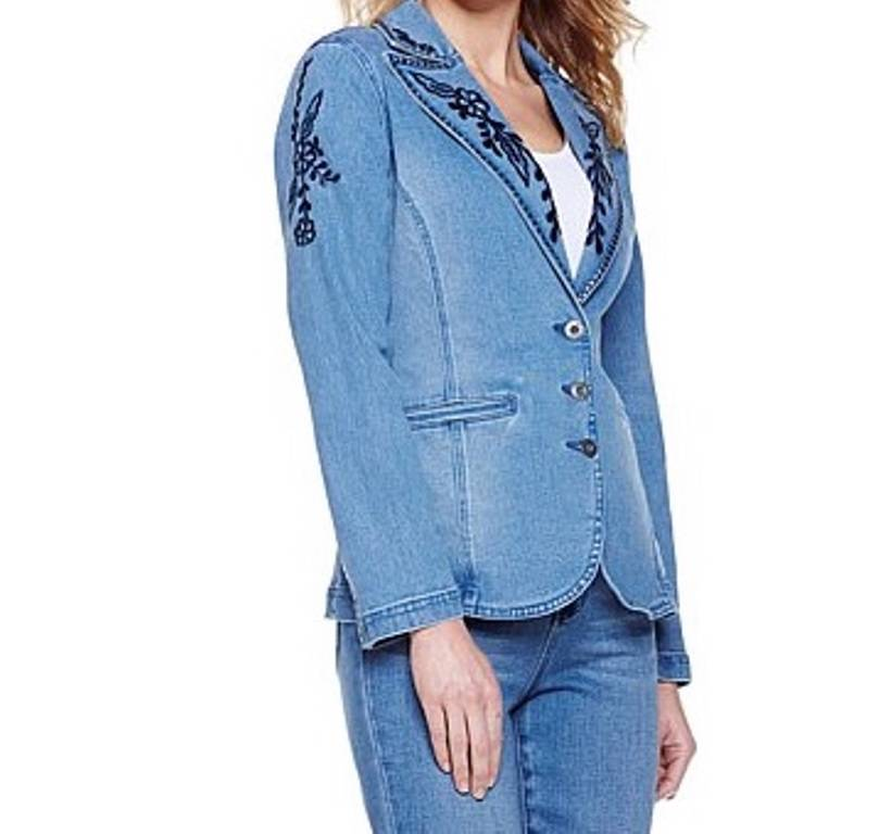 Women s fall spring embroidered studded denim blazer jean