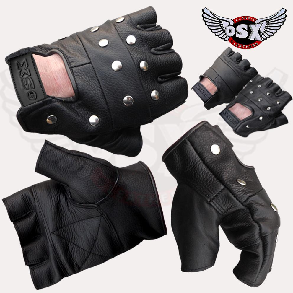 LEATHER-FINGERLESS-GLOVES-BIKER-GOTH-PUNK-DRIVE-CYCLE