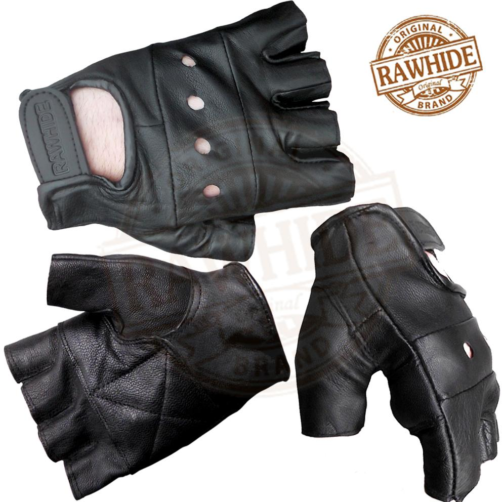LEATHER-FINGERLESS-GLOVES-ALL-STYLES-AVAILABLE-BIKER-GOTH-PUNK-DRIVING-CYCLING