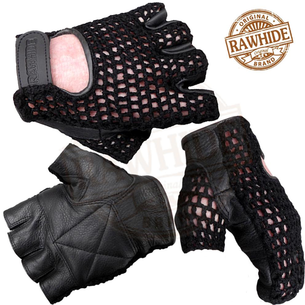 LEATHER-FINGERLESS-GLOVES-WEIGHT-TRAINING-IN-GYM-DRIVING-CYCLING-WHEELCHAIR-USE