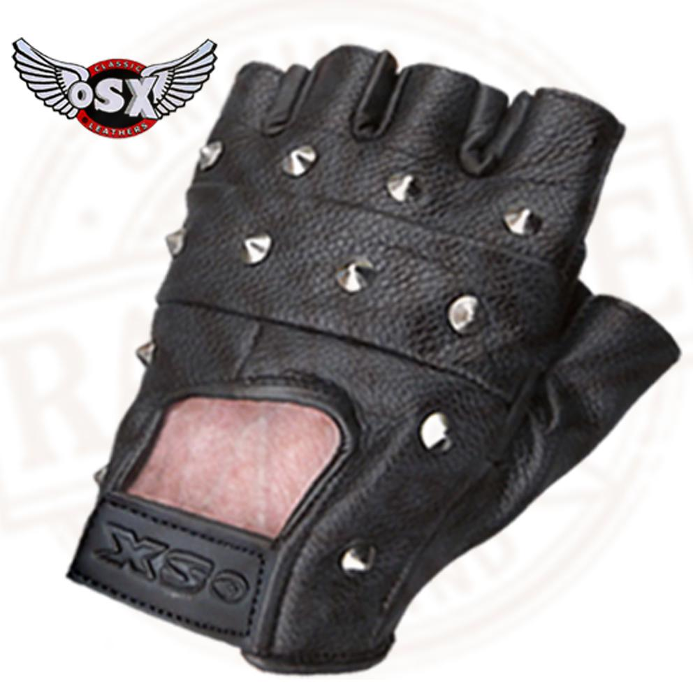 LEATHER-FINGERLESS-GLOVES-BIKER-DRIVING-CYCLING-WHEELCHAIR-GYM-PADDED-RAWHIDE