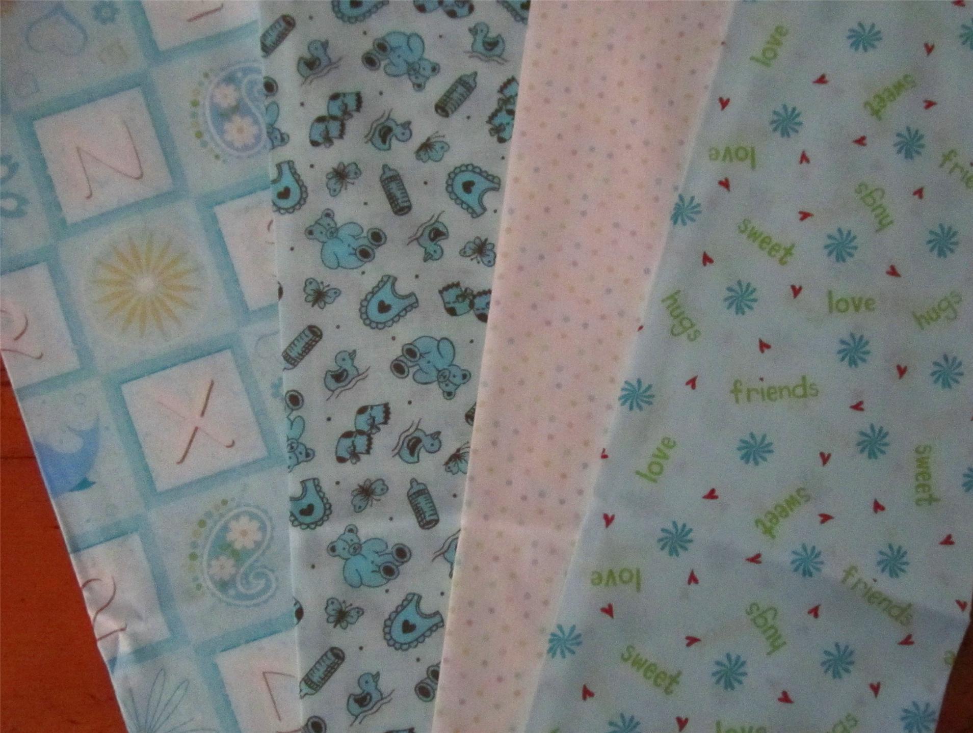 4 fat 1 4 set cute baby boy fabric 4 fat 1 4s 1 yard ebay for Cute baby fabric