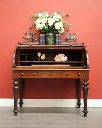 antique australian cedar leather cylinder top office desk writing bureau c1840 ebay. Black Bedroom Furniture Sets. Home Design Ideas
