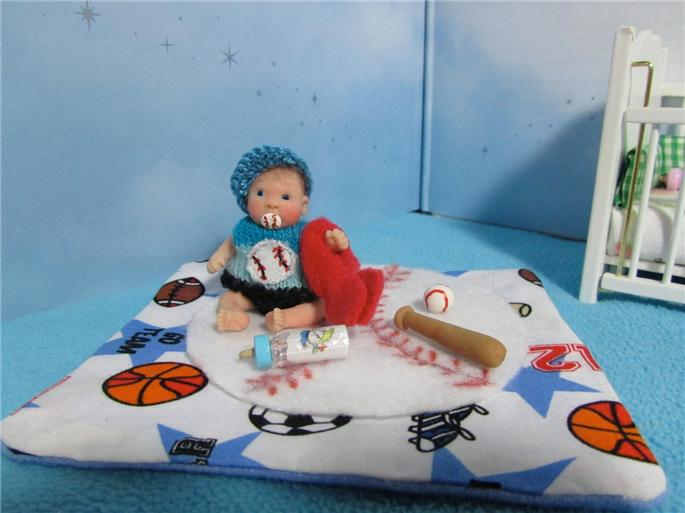 Ooak Mini Baby Boy Art Doll House Polymer Clay Sculpt Poseable Awake