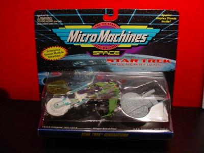 STAR TREK MICRO MACHINES ENTERPRISE NCC 1701 B & D KLINGON BIRD OF