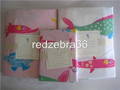 Pottery Barn Kids Girl's Funny Fish Twin Sheet Set Duvet Sham Set ...