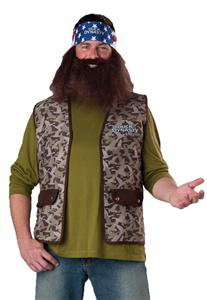 DUCK DYNASTY WILLIE 4 PC COSTUME WIG BEARD BANDANA CAMO VEST IC101101