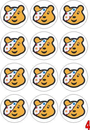 Pudsey Bear Cake Toppers Printable