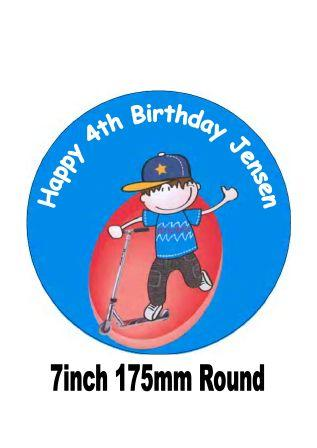 Scooter-Boy-Birthday-Cake-Topper-Celebration-Party-FREEPOST-UK