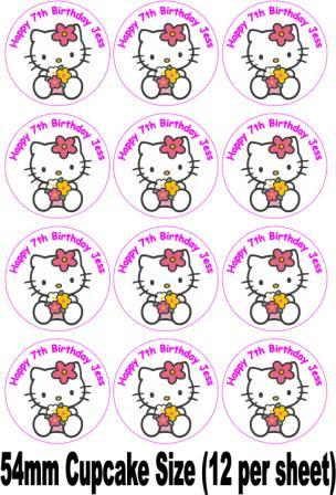 Hello kitty flowers rice paper cake topper for Hello kitty cupcake topper template