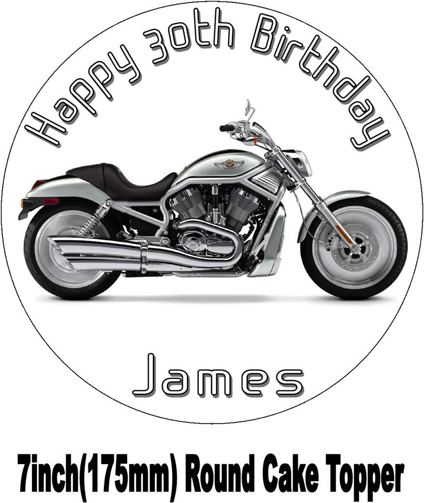 HARLEY DAVIDSON VTWIN SILVER MOTORBIKE BIRTHDAY CAKE TOPPERCHOICES