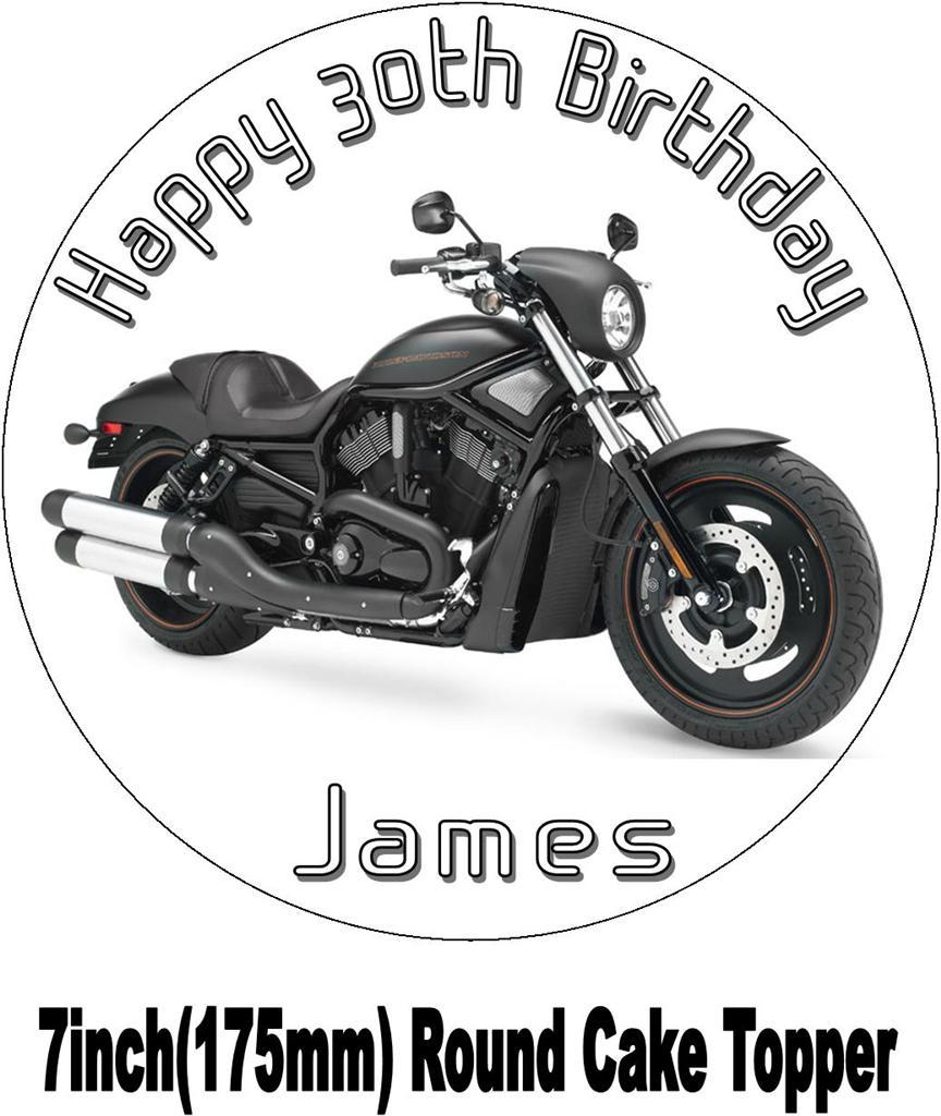 Harley Davidson Vtwin Black Motorbike Birthday Cake Topperchoices