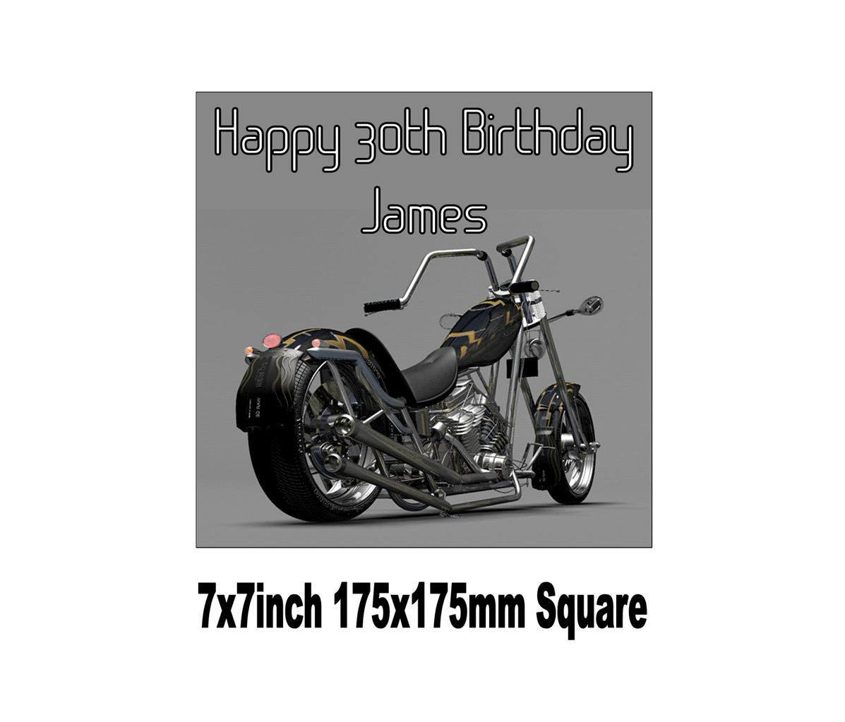 Harley Davidson Chopper Motorbike Birthday Cake Topperchoices