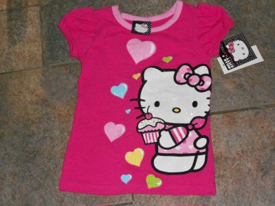 NWT Cupcake Heart Hello Kitty Pink Shirt top 4 5 6 6X