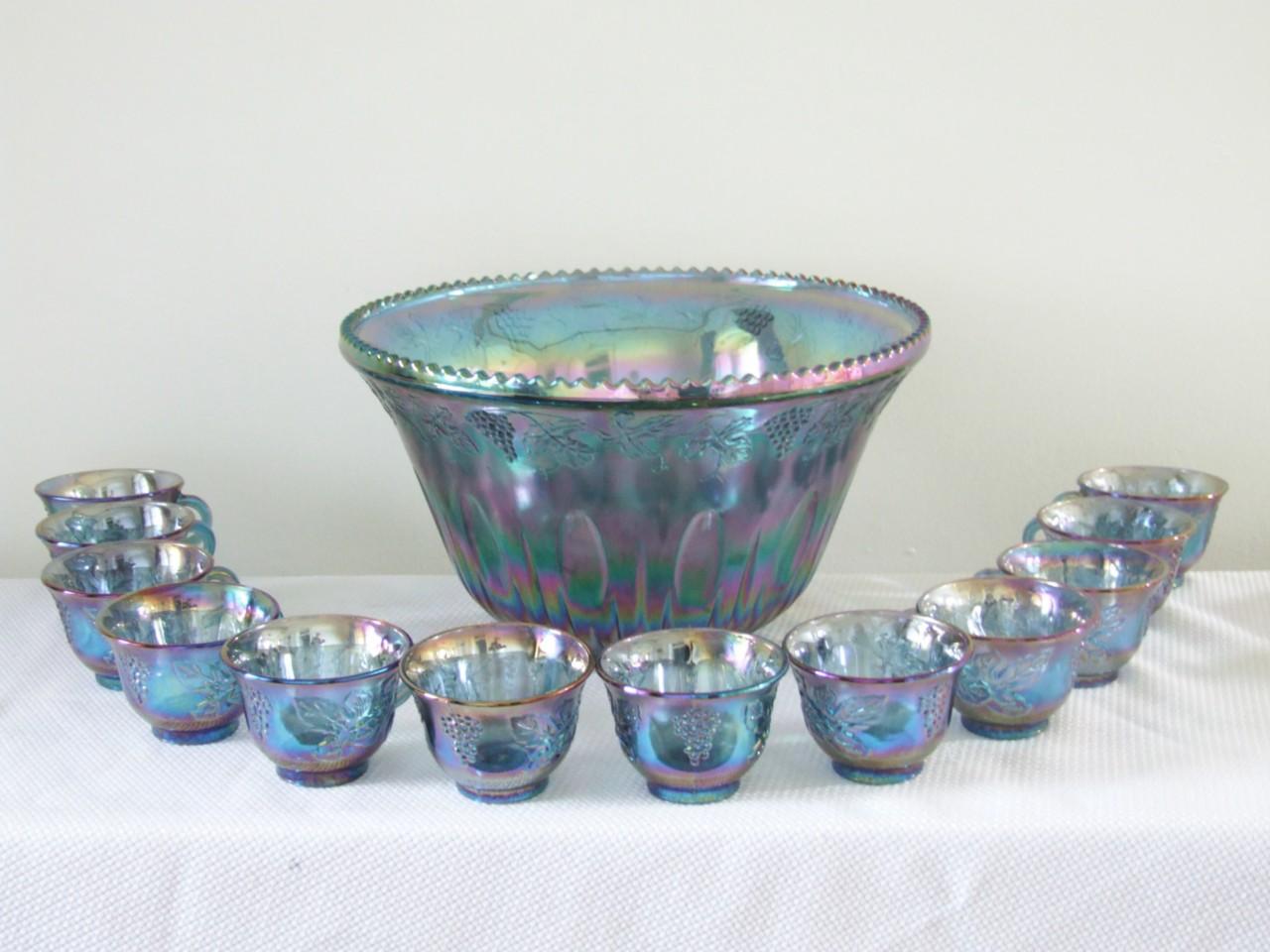 Vintage indiana glass carnival blue grape punch bowl set