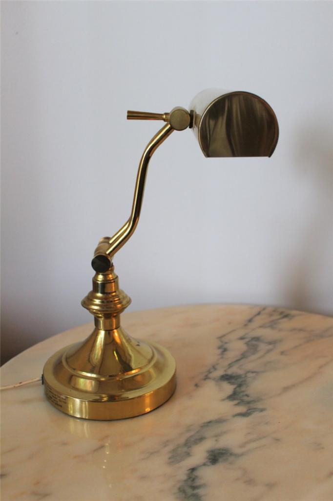 stunning vintage gold brass bankers desk lamp ebay. Black Bedroom Furniture Sets. Home Design Ideas