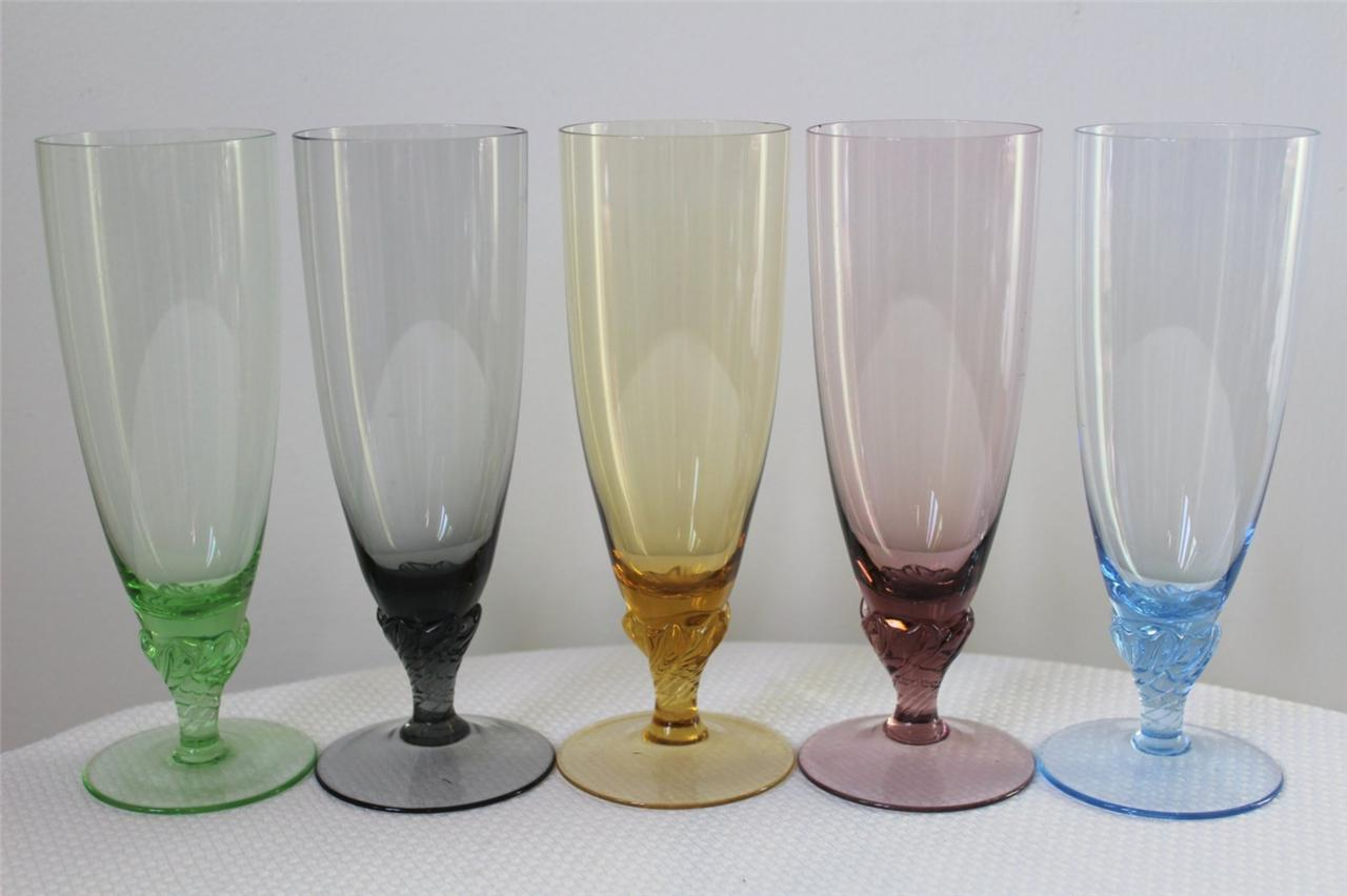 Vintage funky retro coloured glass champagne flutes - Funky champagne flutes ...