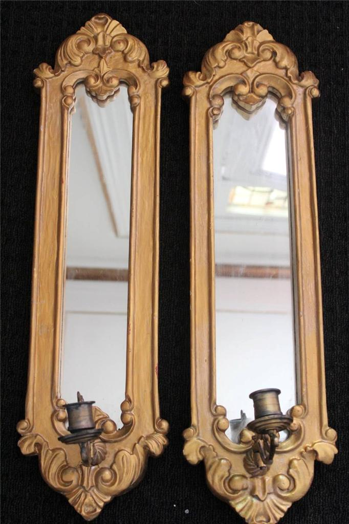 Wall Sconces Nsw : Antique French Gold Wall Girandole Mirrored Candle Sconces eBay