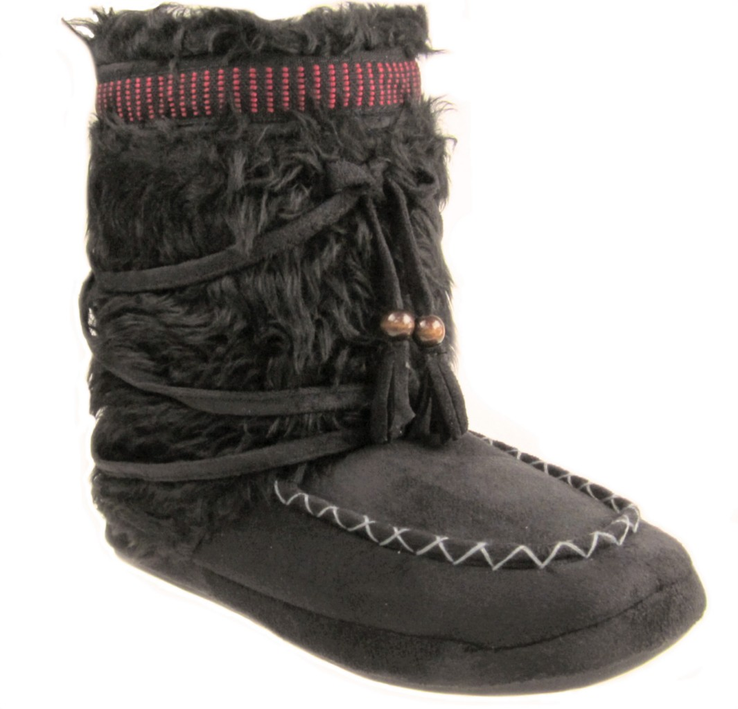 eskimo fur suede slipper boots black new sz 3 8