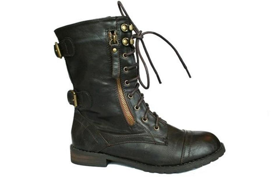 womens brown combat army lace up boots