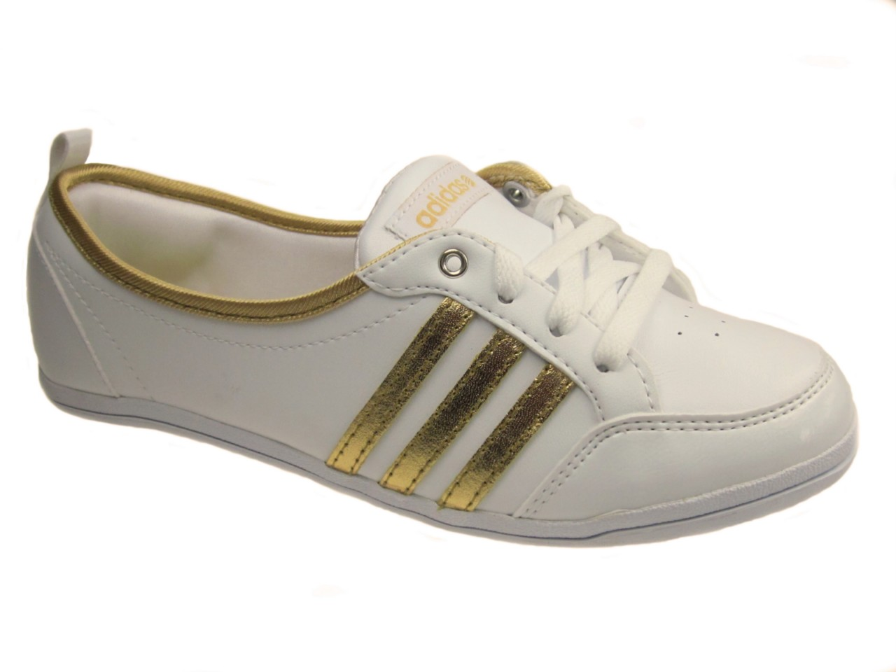 ADIDAS-LADIES-PIONA-BLING-FLAT-BALLERINA-TRAINERS-WHITE-GOLD-SZ-3-8