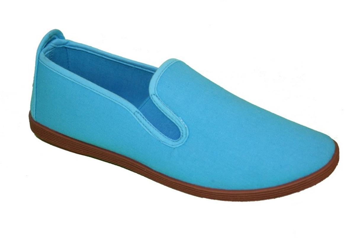 LADIES FASHION CANVAS FLAT SHOES BLUE SIZE UK 3-8 | EBay