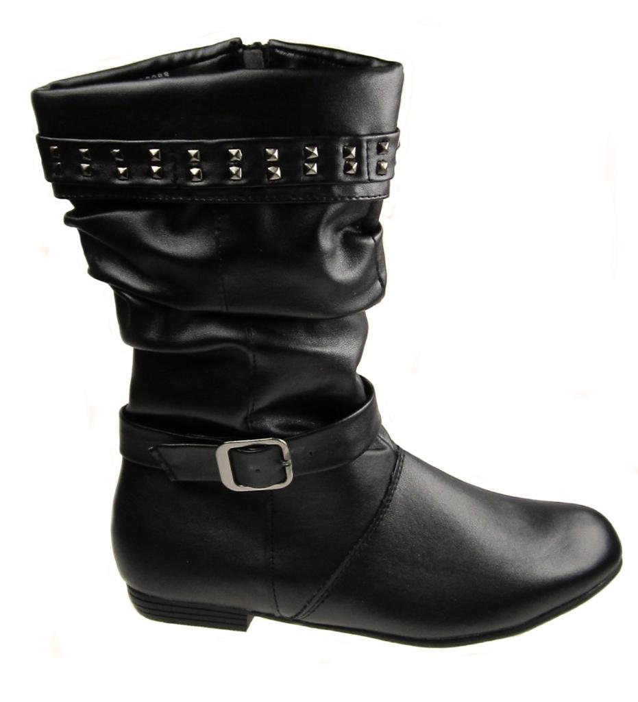 girls faux leather full inside zip flat slouch boots black