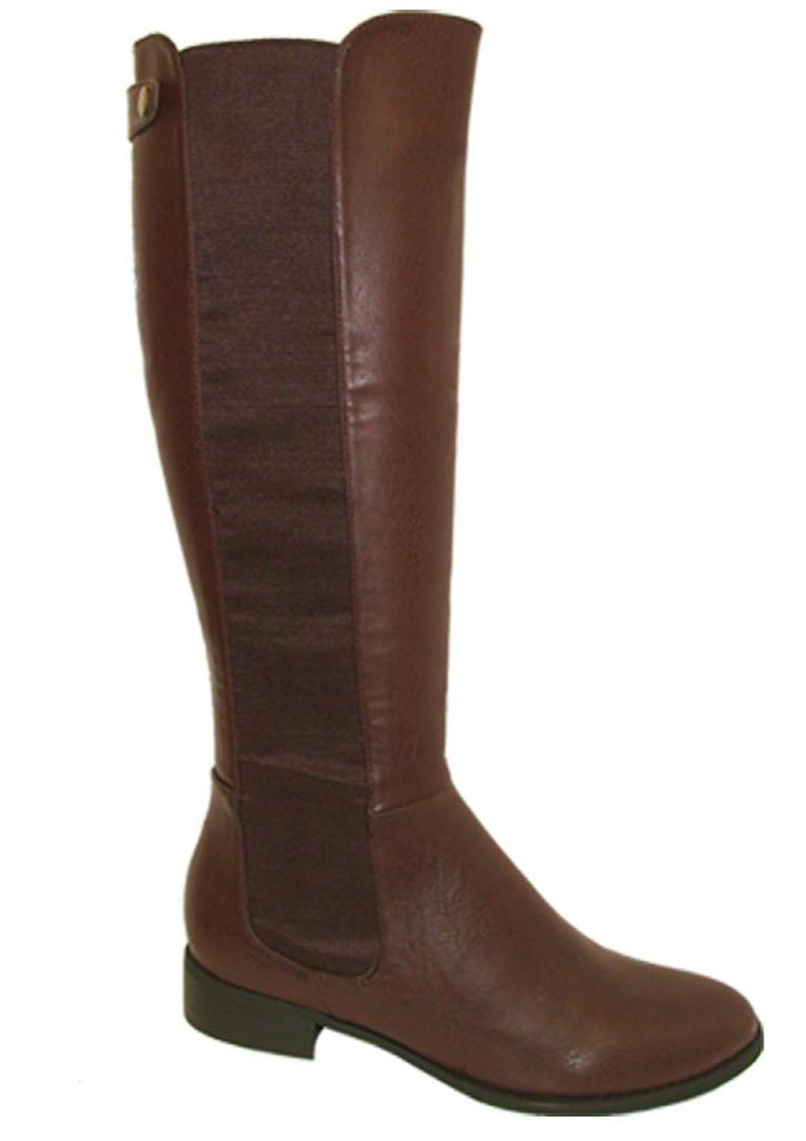 faux leather flat knee high boots size uk 3