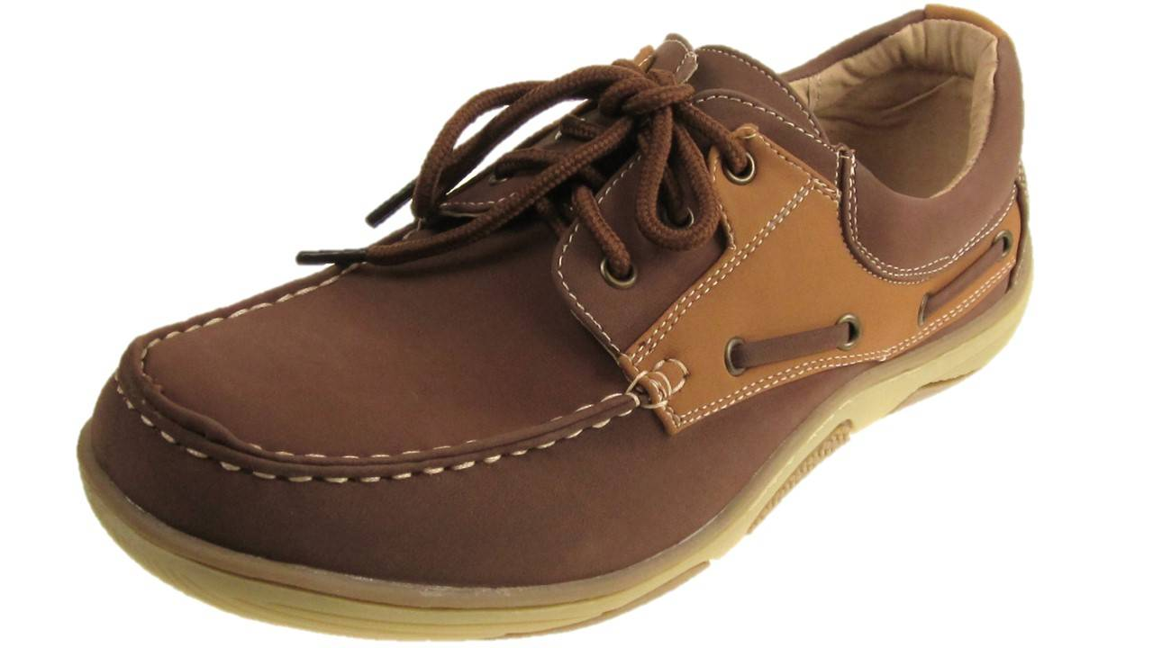 MENS-FASHION-DECK-SHOES-LEATHER-INSOLE-LACE-UP-BROWN-TAN-SIZE-7-12-NEW