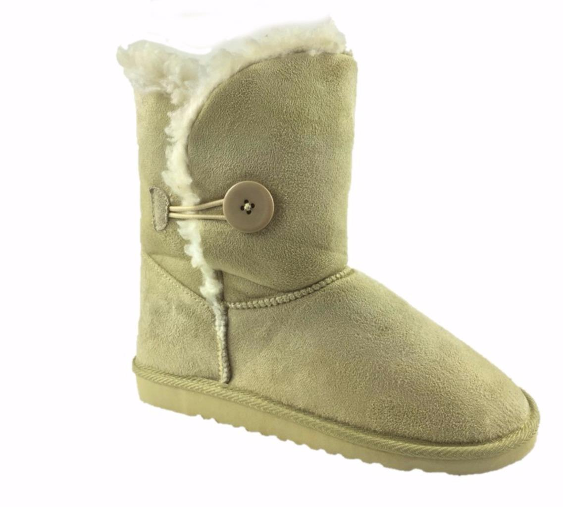 faux suede fur lined winter ankle boots beige uk 3