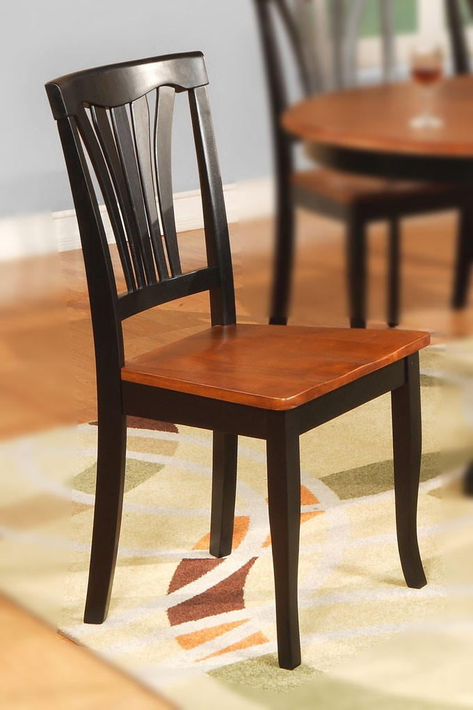 2 DINING KITCHEN WOOD SEAT CHAIRS IN BLACK AND CHERRY