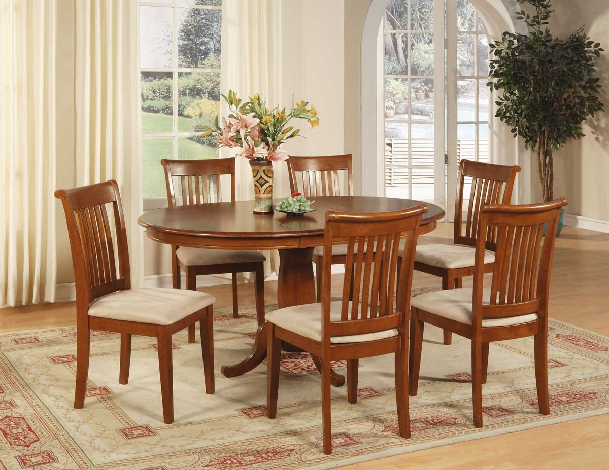 7 pc oval dinette dining room set table and 6 chairs for Dinette set with bench