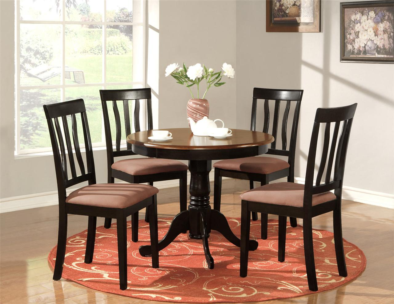 5 pc round table dinette kitchen table 4 chairs oak ebay for Kitchen set table and chairs