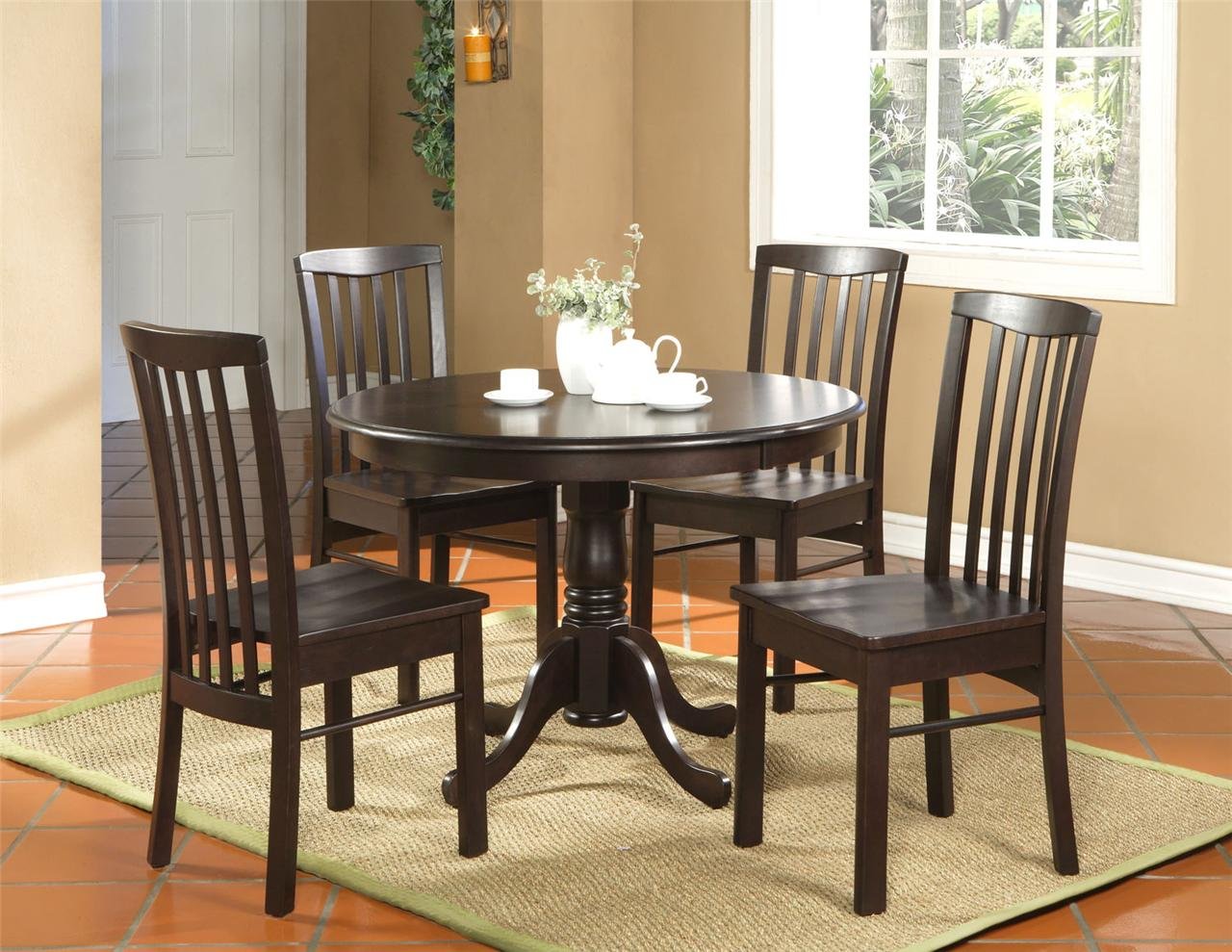 5pc round kitchen dinette set table and 4 chairs walnut ebay for Kitchen table set 6 chairs