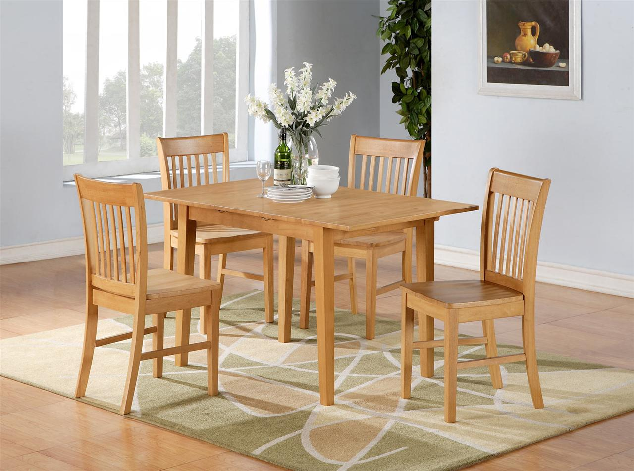 5pc norfolk rectangular dinette kitchen dining table with 4 chairs in oak ebay - Rectangle kitchen table sets ...