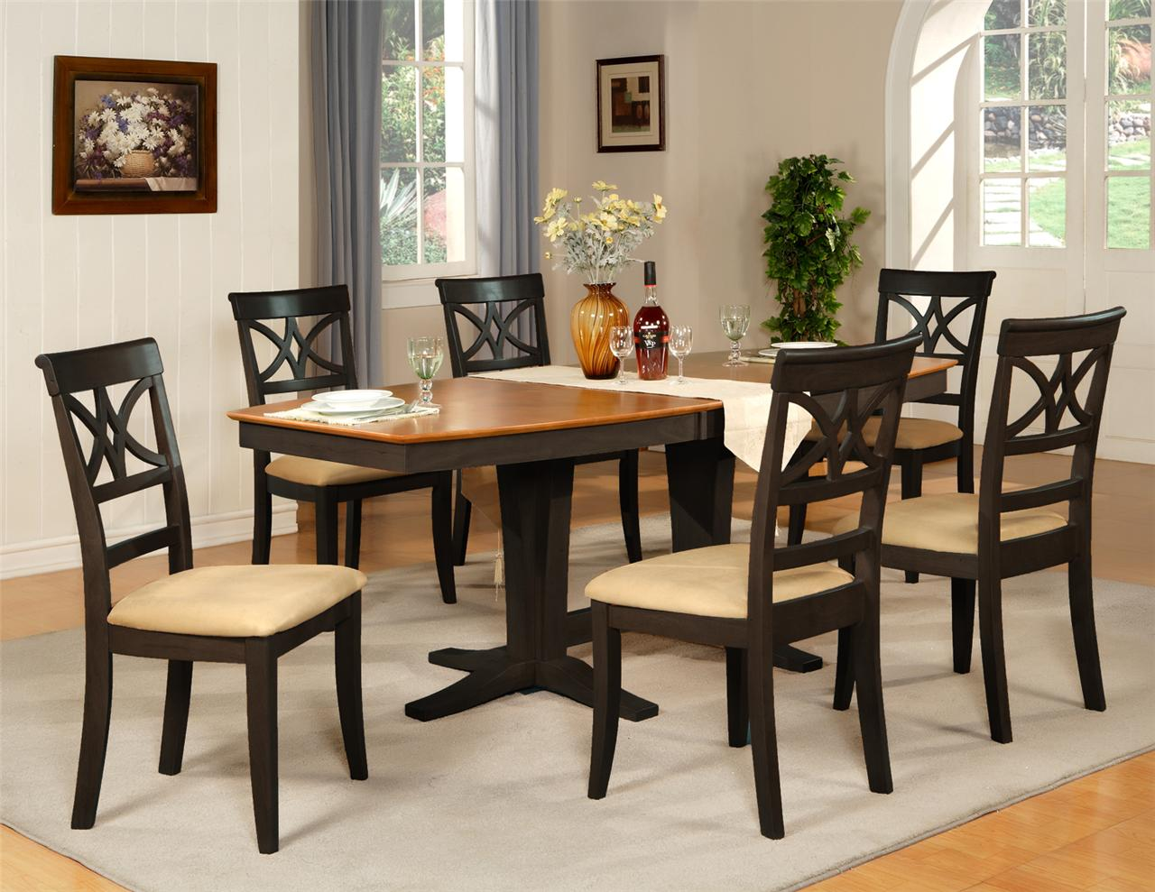 7pc dinette dining room table w 6 microfiber padded for Black dining room table set