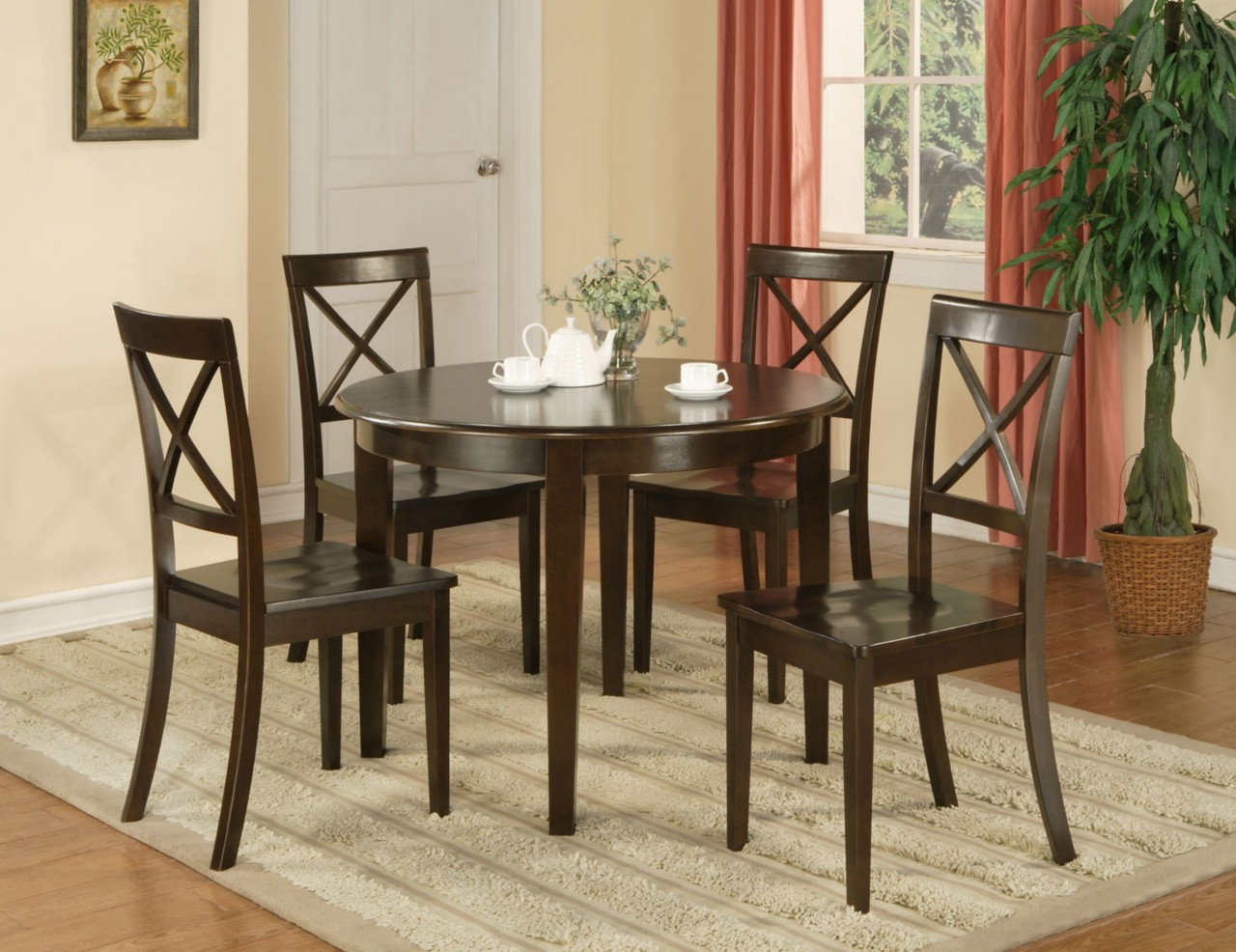 5 pc boston round dinette dining table 4 wood seat chairs in cappuccino ebay. Black Bedroom Furniture Sets. Home Design Ideas