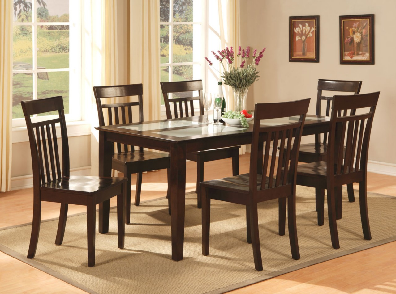 7 pc capri dinette kitchen dining room set table with 6 for Dining set with bench and chairs