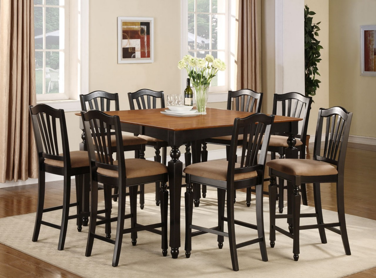 9PC SQUARE COUNTER HEIGHT DINING ROOM TABLE W 8 MICROFIBER STOOLS