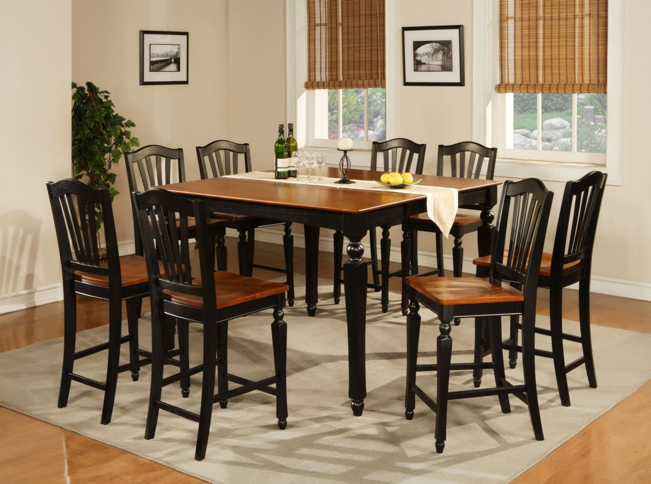 9pc square counter height dining room table with 8 chair for Black dining room set