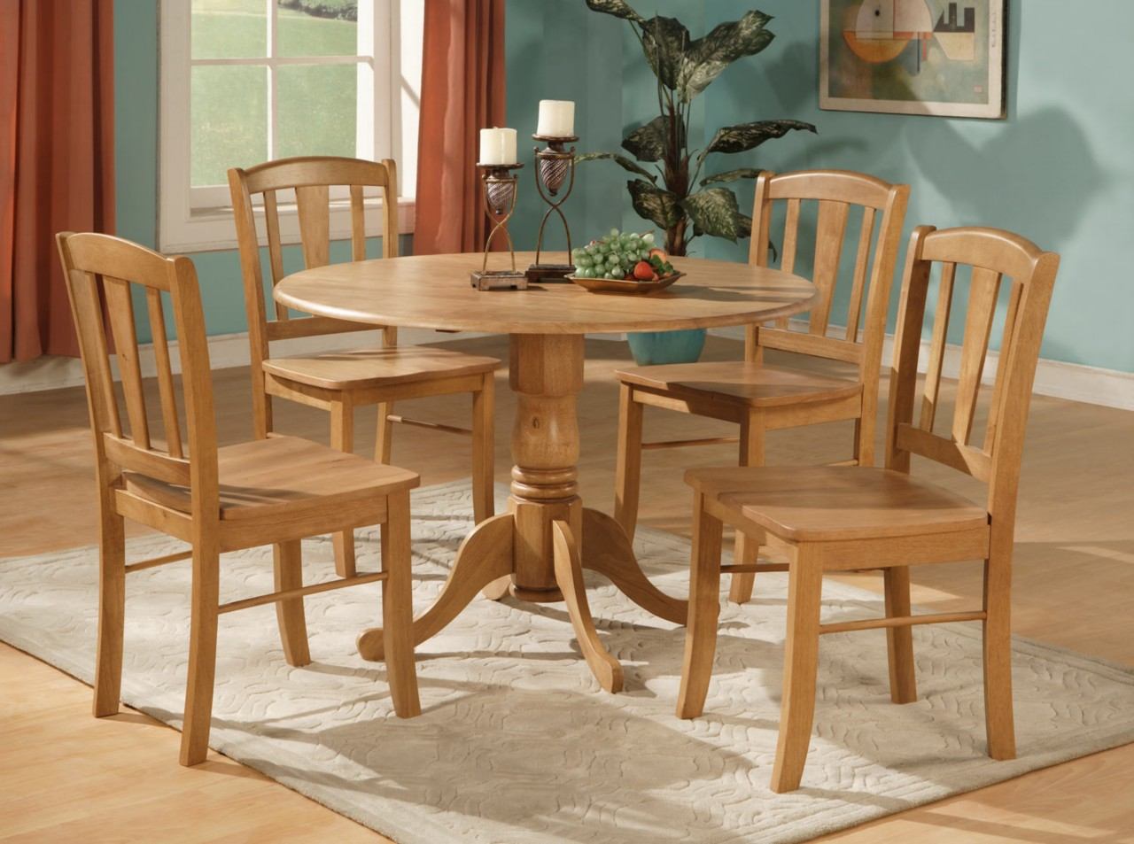 5pc round dinette kitchen dining set table and 4 chairs ebay for Round dining table set for 4