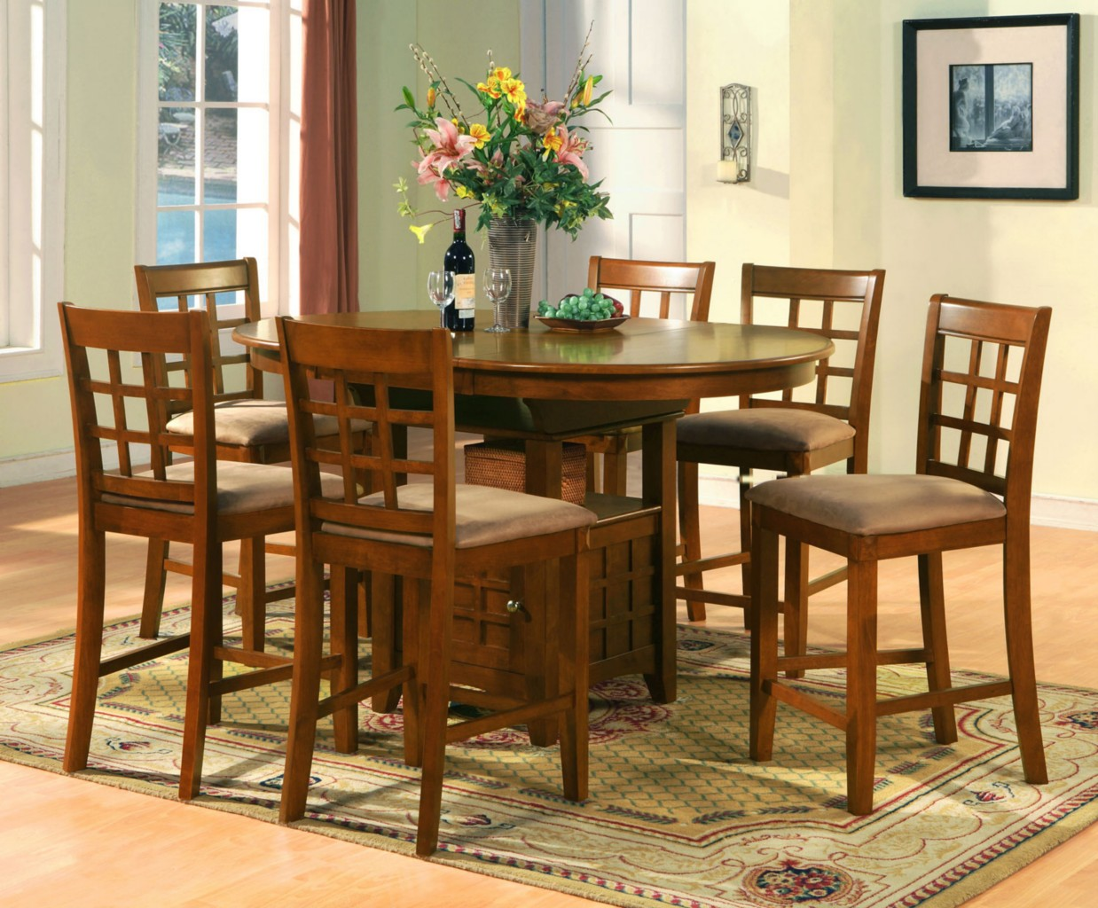 Dining table dining table sets matching bar stools for Counter height dining set