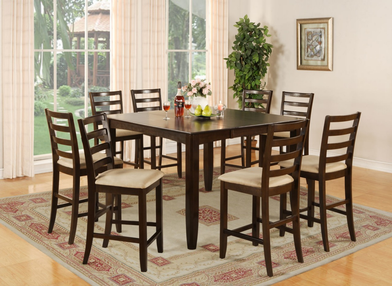 9 pc square counter height dining room table 8 chairs for Square dinette sets