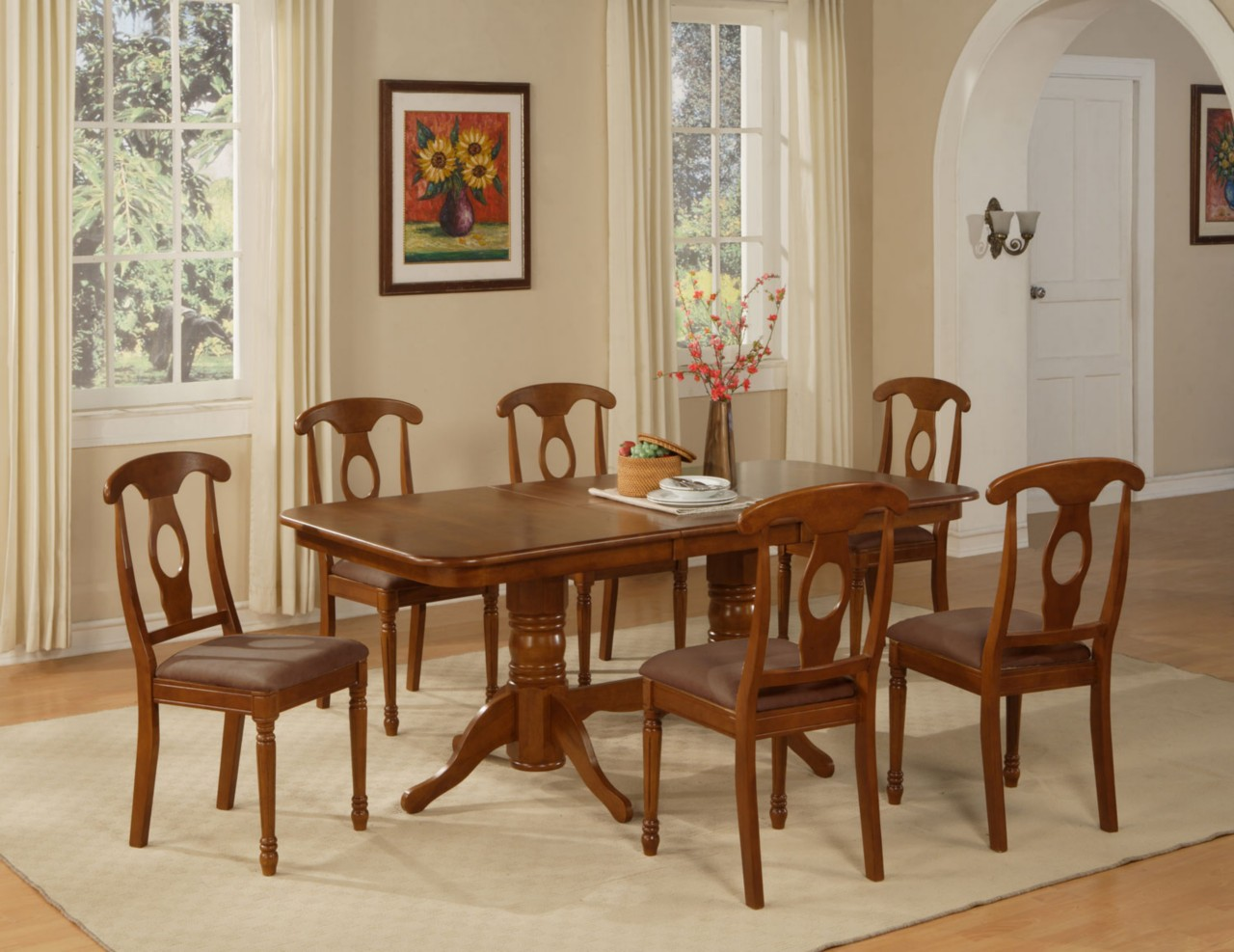 9pc Rectangular Dining Room Set Table with 8 Microfiber ...